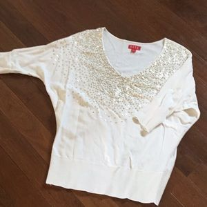Winter White Sweater w/ Gold Sequin Accents